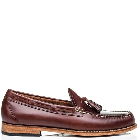 G.H Bass Weejuns Handmade Larkin Pull Up Tassle Penny Loafers - Dark Brown