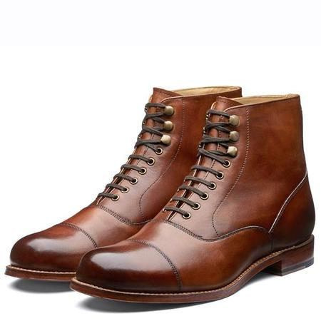 Grenson Leander Cap-Toe Burnished Leather Boots - Tan