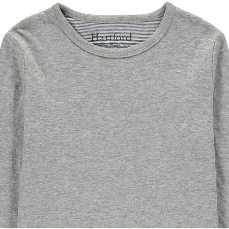 Hartford Cotton Double Faced Striped Lining Heavyweight Longsleeve T-Shirt - GREY