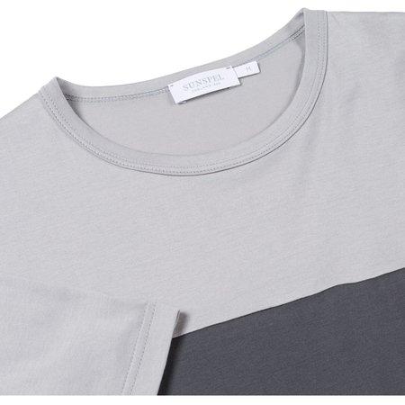 Sunspel Classic Cotton Colourblock T-shirt - Light Grey