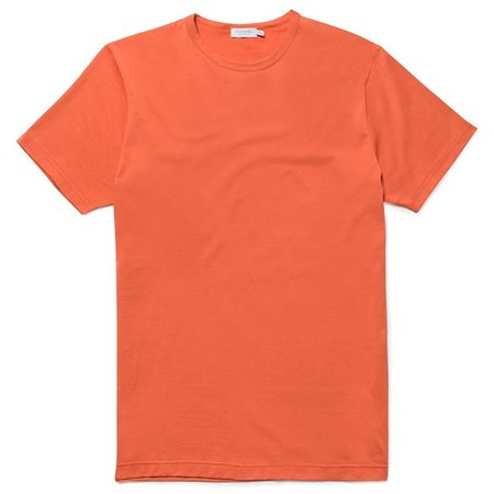 Sunspel Q82 Soft Egyptian Cotton Crewneck Short Sleeve T-Shirt - Russet Orange