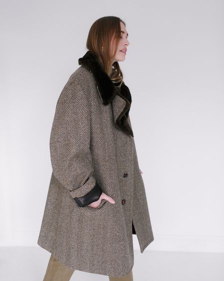 Vintage Kaleidos London Fog Herringbone Coat - Brown/Tan