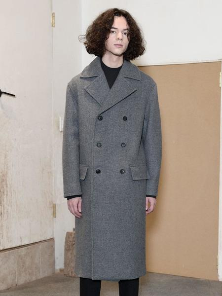 CHRISCHRISTY Twill Double Breasted Coat - Grey