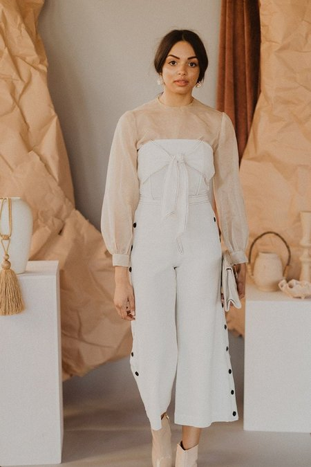 4Sienna Contrast Stitch Cropped Pant - White