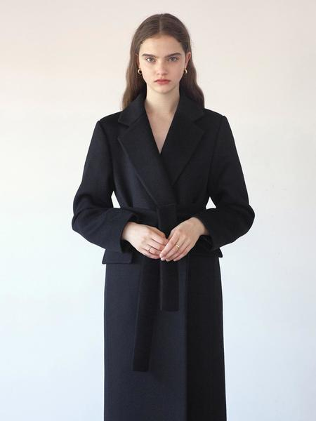 KLEAN Belted Long Coat - Black