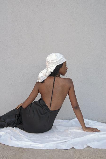 K M by L A N G E Open Back Asymmetric Slip Dress - Black