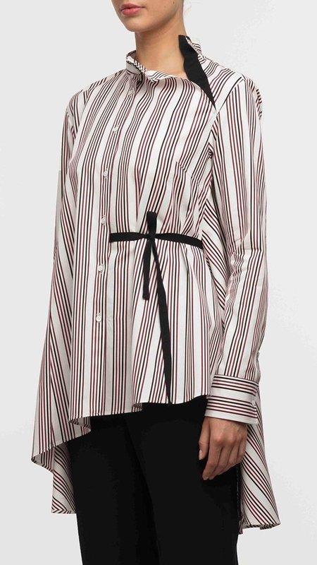 Palmer Harding Split Shirt - Berry Satin Stripes
