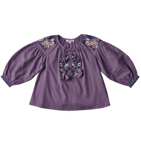 KIDS Nellystella Baby And Child Hellena Long Sleeved Blouse With Embroidery - Pewter Purple