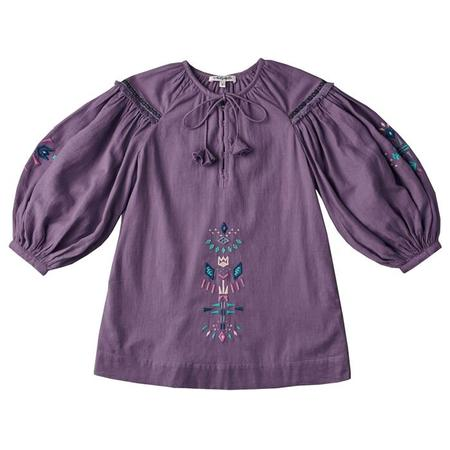 KIDS Nellystella Baby And Child Laliya Long Sleeved Dress With Embroidery - Pewter Purple