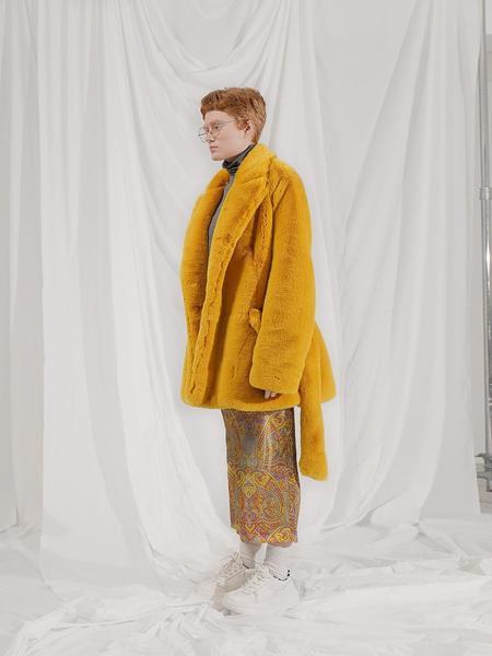 101MOON Faux Fur Strap Halfcoat - Yellow