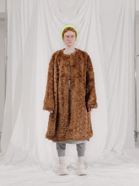 101MOON Collarless Faux Fur Coat - Brown