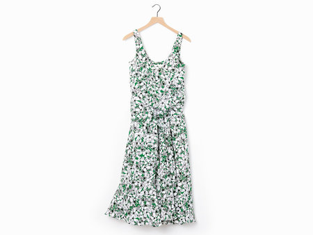 Cedric Charlier Floral Sundress - WHITE/GREEN