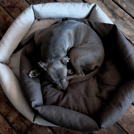 Velvet Hippo Hex Cushion Dog Bed - Light Grey