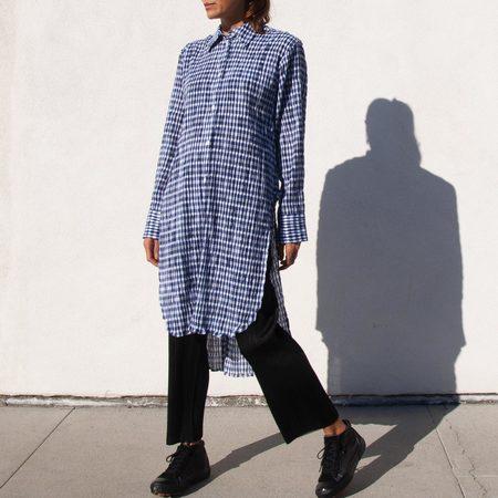 Delada Long Split Back Shirt - Check