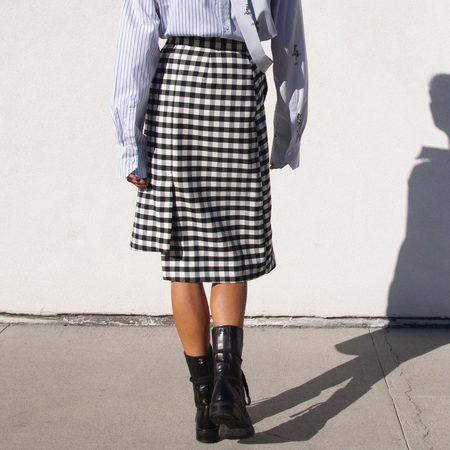 Delada Asymmetrical Skirt - Black/White Check