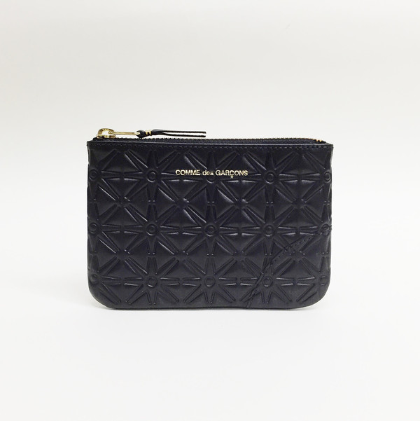 Comme des Garcons - Black Embossed Star Small Zip-up Pouch