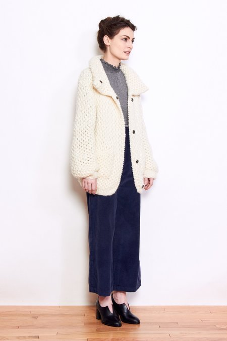 LN Knits Teddy Tina Sweater Jacket - Off White