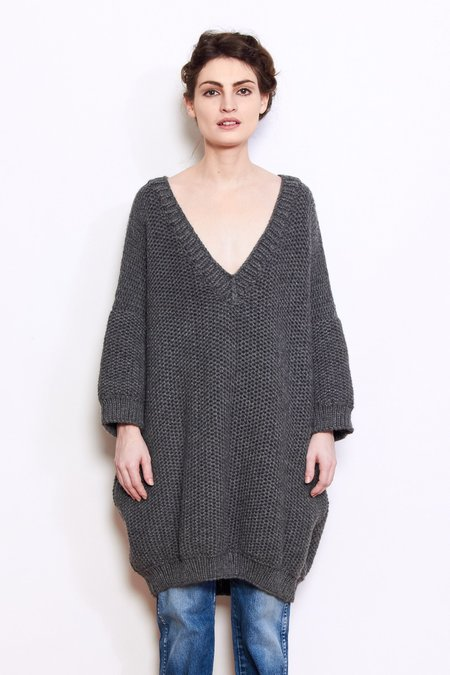 Mr. Mittens Jacqueline Wool Sweater - Charcoal