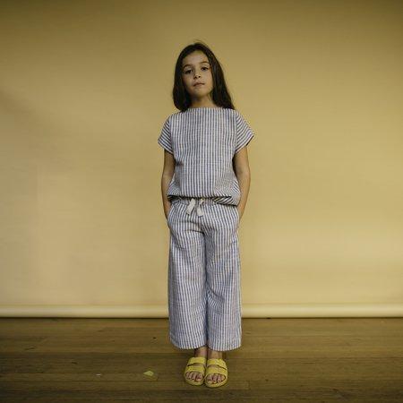 KIDS Repose AMS Striped Woven Tee - Sand/Blue Stripe