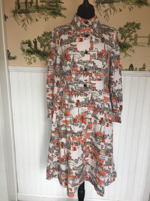 Japanese abstract print dress orange and black in size medium waist 30 chest 32