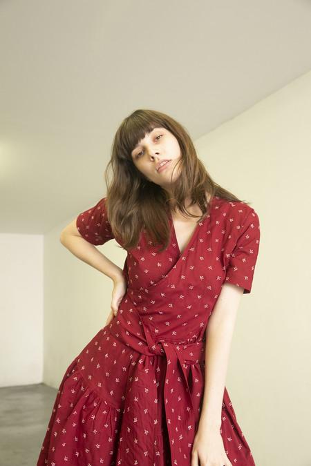 CARON CALLAHAN LUCA DRESS - CRIMSON EMBROIDERY