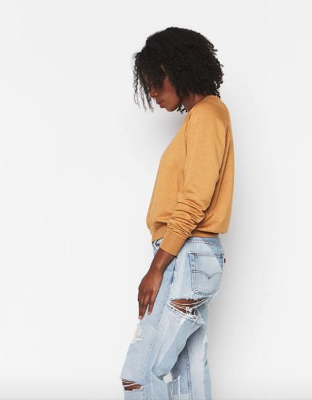 Backbeat Rags Tencel Cropped Sweatshirt - Ochre