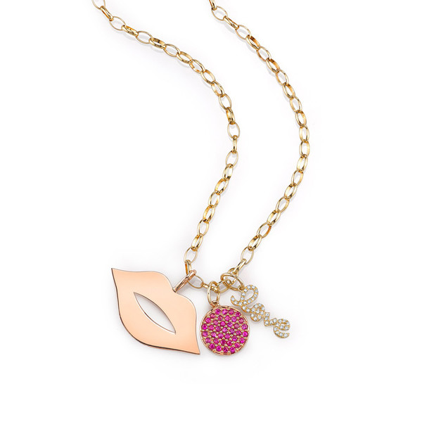Sydney Evan LIPS & LOVE RUBY AND DIAMOND CHARM NECKLACE