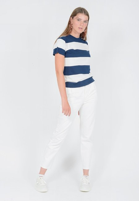 Rollas Big Stripe T-Shirt - Vanilla/Navy