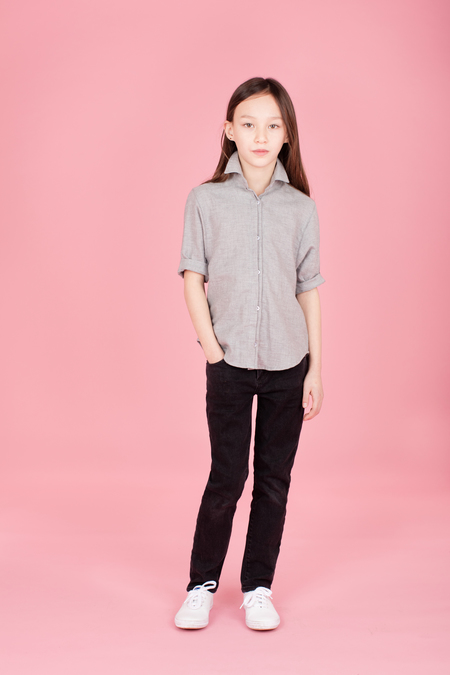 KIDS Pley Spanish Banks Button-Up Shirt - Solid Grey