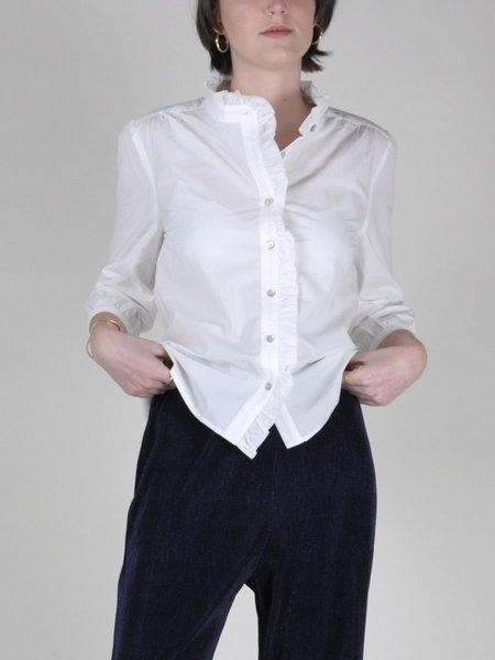 &Another Sim Button Top - White Rufflle