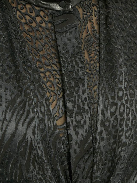 PETAR PETROV SHORT SLEEVED ASYMMETRIC PANELED DEVOREE DRESS - BLACK ANIMAL PRINT
