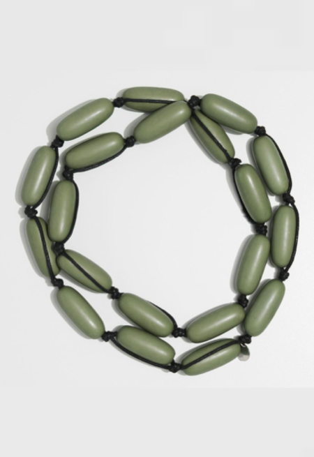 Evie Marques Olive Green on Black Cord Necklace