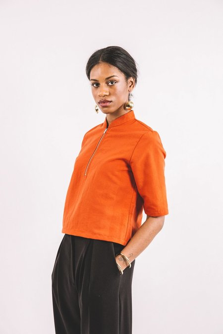 In God We Trust PERCY TOP - ORANGE POPLIN