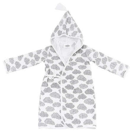 KIDS Moumout Paris Pepin Muslin Bathrobe - White With Clouds