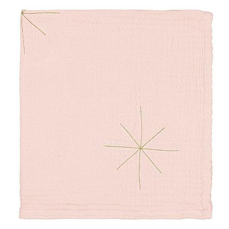 KIDS Moumout Paris Panpan Blanket With Embroidered Gold Stars - Nu Pink