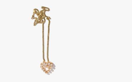 Vintage Kindred Black Heart of Glass Necklace - Gold