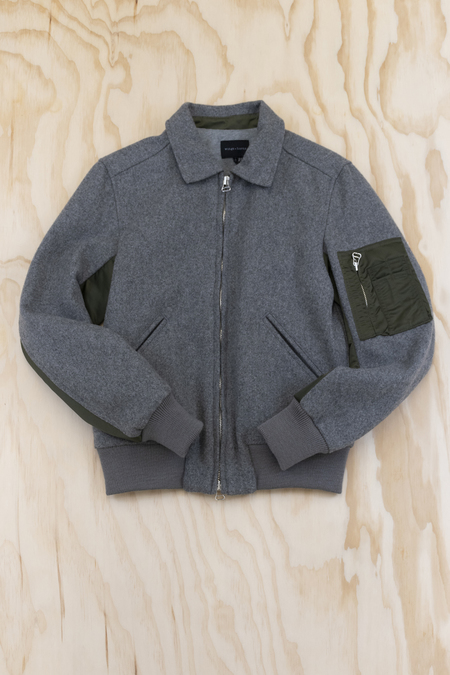Wings + Horns Melton Wool Fight Jacket - Gray