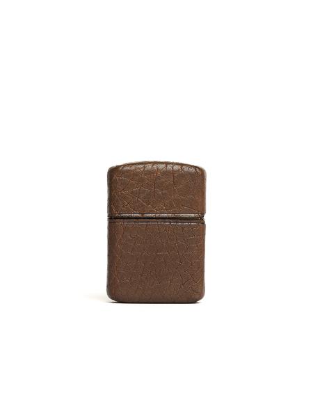Ugo Cacciatori Leather Zippo Lighter - Brown