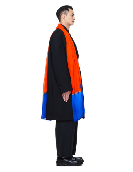 Raf Simons Wool Coat With Scarf - Black