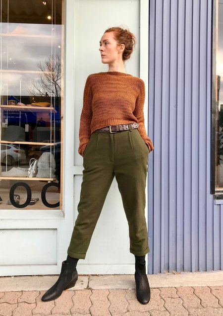 7115 by Szeki Wool Cropped Trousers - Olive