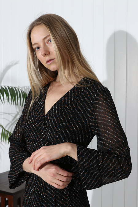 Ganni Mullin Georgette Dress - Black