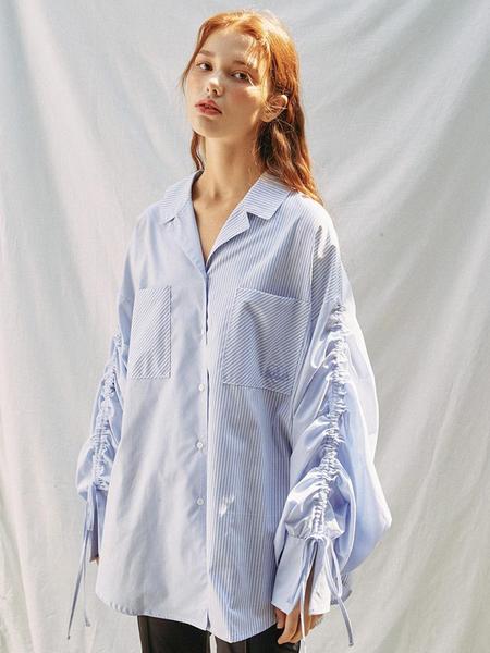 EYEYE Stripe Blocking Ruching Sleeve Shirt - Blue