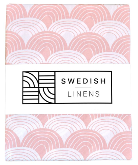 Kids Swedish Linens Organic Fitted Sheets - Nudy Pink