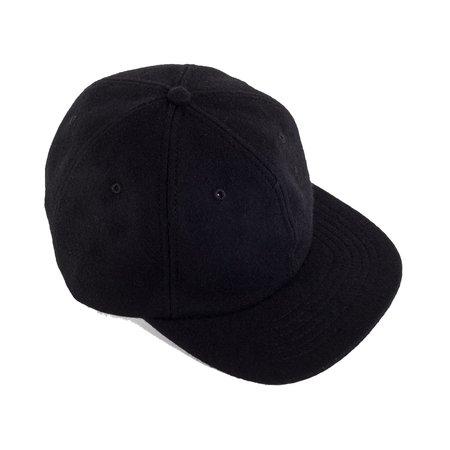 Viberg Six Panel Wool Hat with Shell Cordovan Strap - Black
