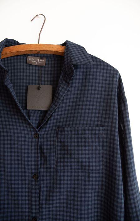 Dress Forum Gingham Button Down Shirt - Navy