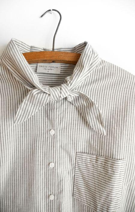 Dress Forum French Tie Top - Grey/White Stripe