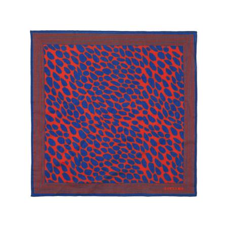 Clare V. Bandana Scarf in Poppy W/Blue Jag Splash