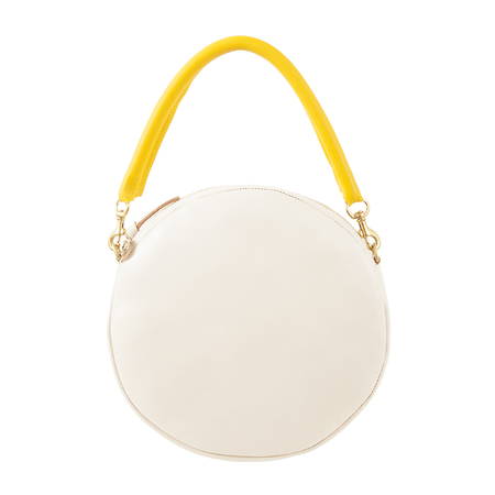 Clare V. Circle Clutch in White Rustic