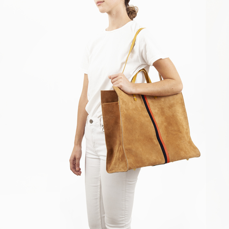 Clare V. Simple Tote in Camel Suede W/Navy And Red Suede Desert Stripes