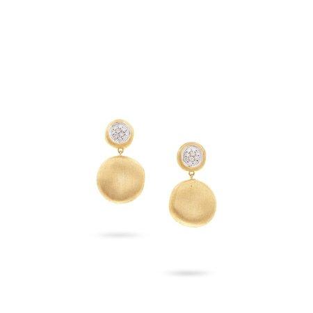 Marco Bicego Jaipur Diamond Medium Drop Earrings - 18K Yellow Gold
